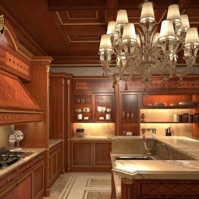 Mobili per cucina classica in radica e noce