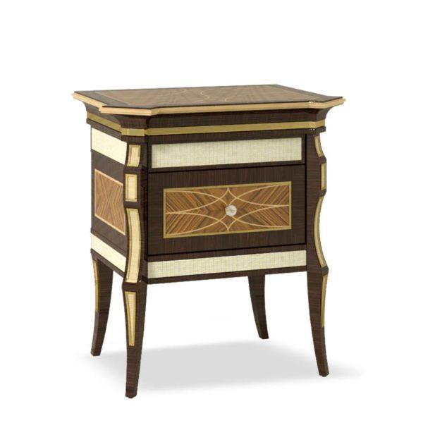 comodino elegante di lusso in legno in stile contemporaneo