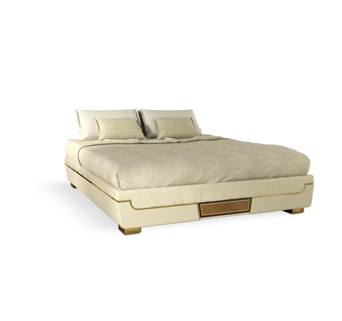 letto elegante di lusso in legno in stile contemporaneo