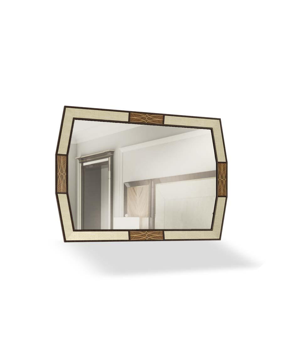 specchiera elegante di lusso in legno in stile contemporaneo