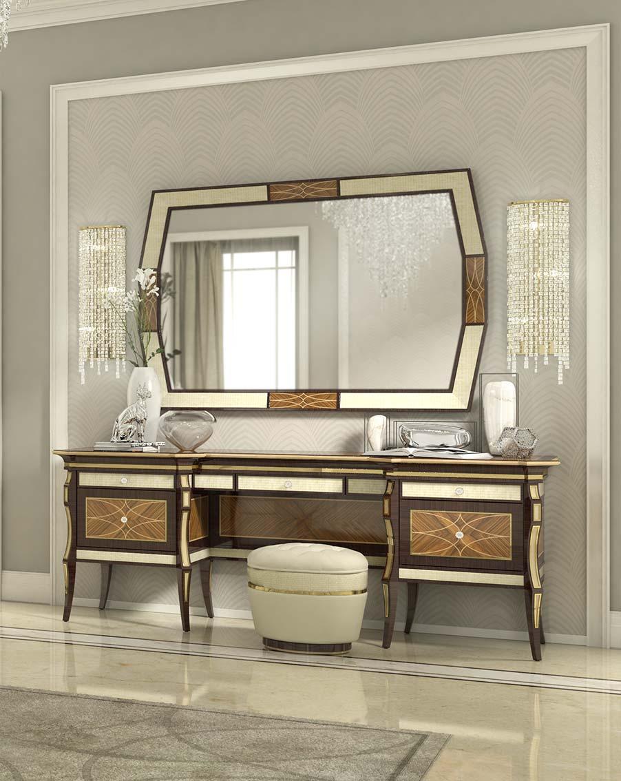 toeletta elegante di lusso in legno in stile contemporaneo
