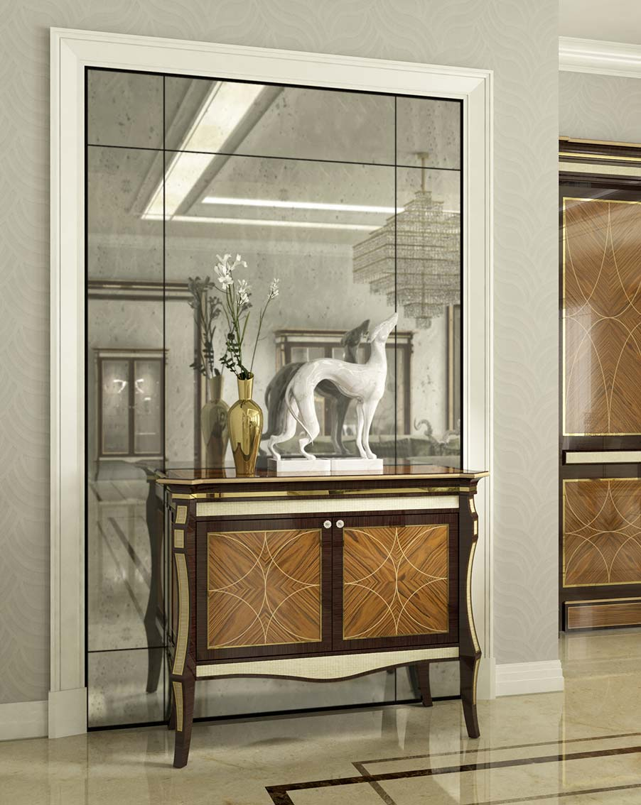 credenza elegante di lusso in legno in stile contemporaneo