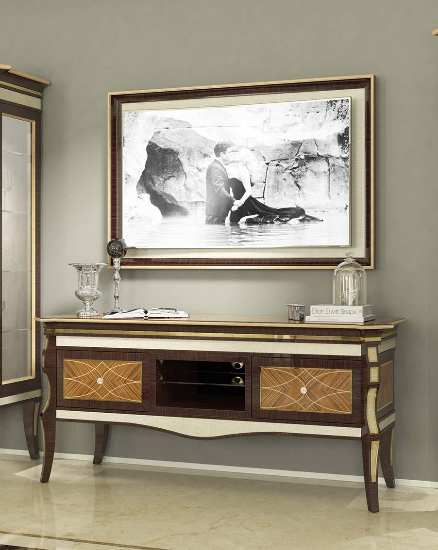 porta tv elegante di lusso in legno in stile contemporaneo