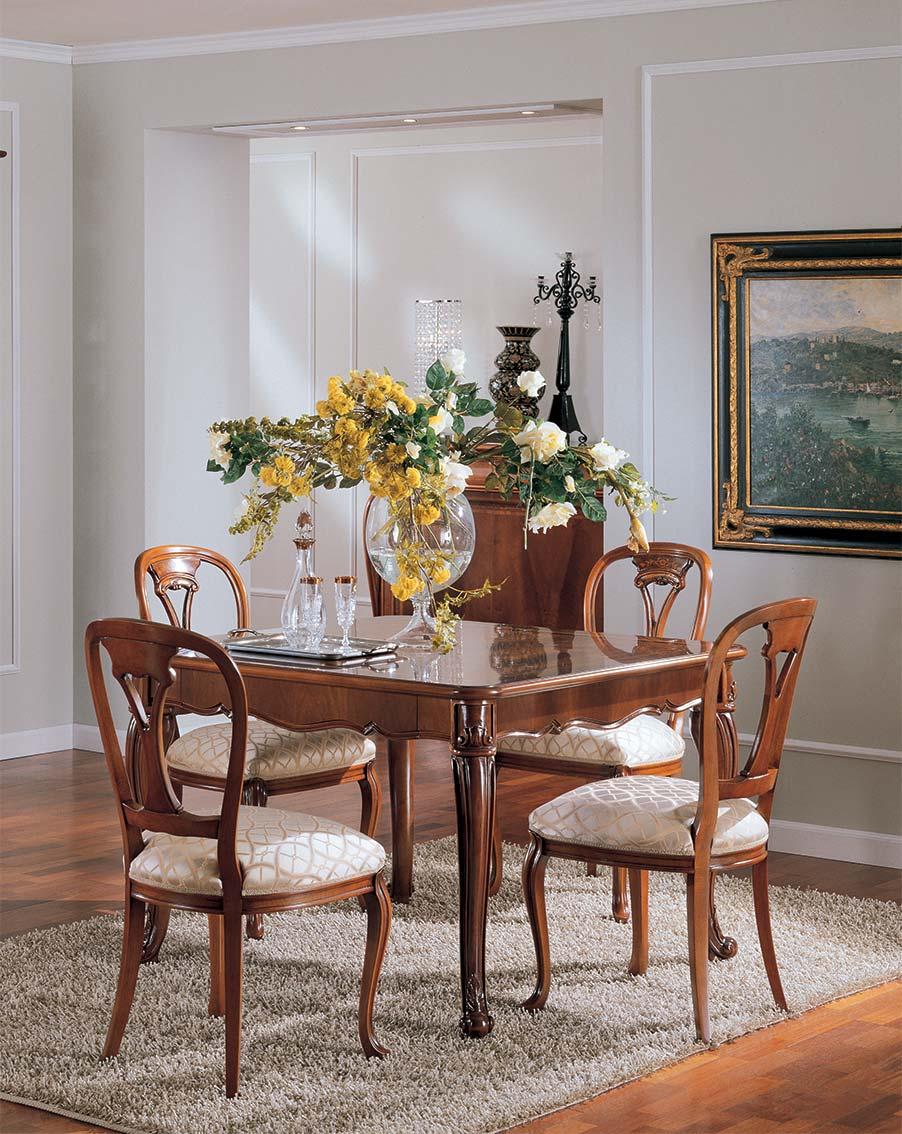 tavolo allungabila elegante di lusso in legno in stile classico