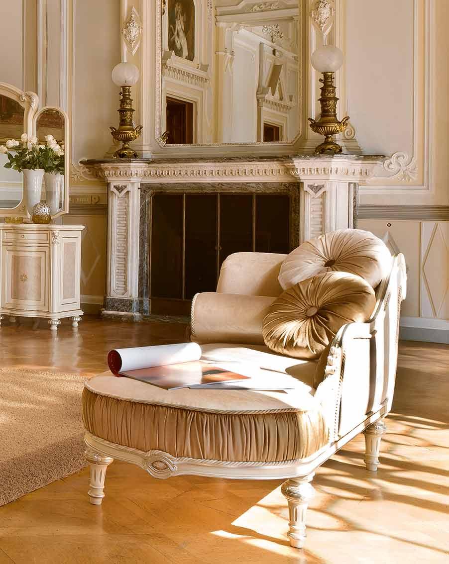 dormeuse chaise longue elegante di lusso in legno in stile classico
