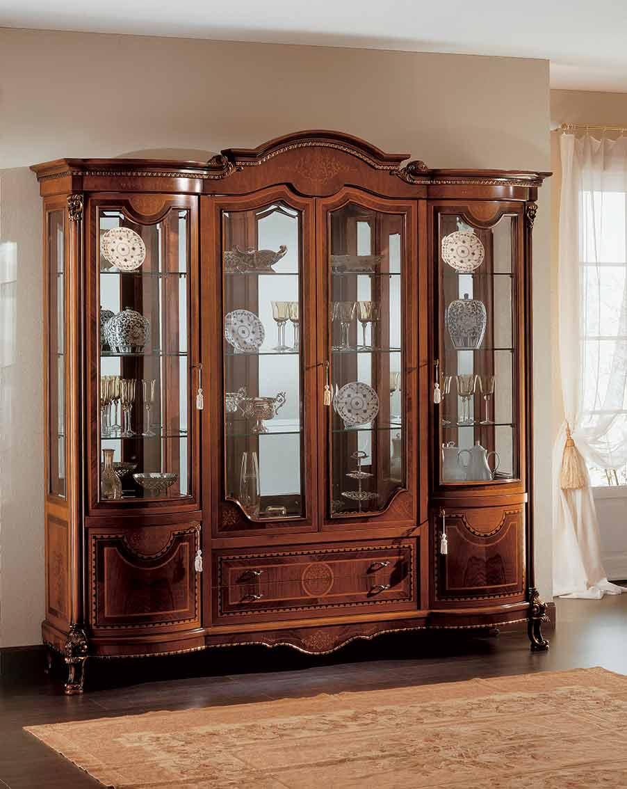 soggiorno vetrina di lusso in legno in stile classico