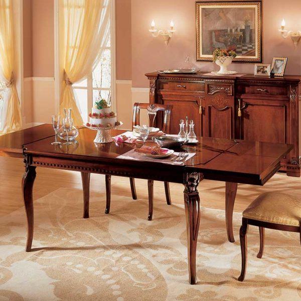 tavolo allungabile elegante di lusso in legno in stile classico