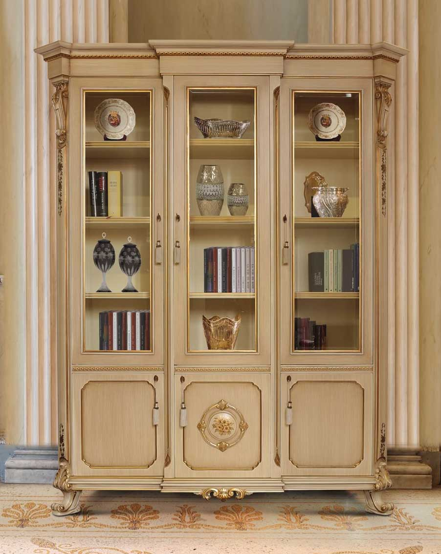 Bespoke classic bookcase made in italy in real wood with handmade carvings and inlay marquetry