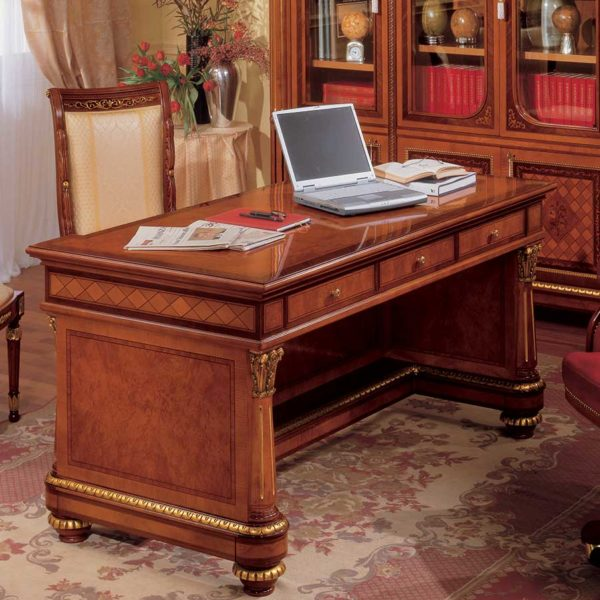 Bespoke classic writing desk made in italy in real wood with handmade carvings and inlay marquetry